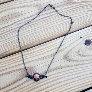 Black steam punk rose vintage style necklace